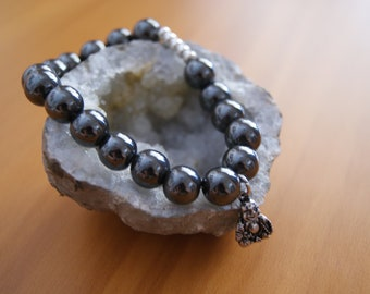 Hematite Mala Buddha Bracelet