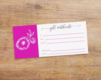Printable Gift Certificate for your Small Business - Gift Certificate Download - Magenta with White Flower