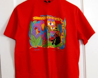 Vintage Laurel Burch Tee Shirt Animalia & Fantastic Felines on 1 Shirt, Cotton One Size New