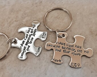 Personalized puzzle piece keychain set Mark 10:9 what God has brought together let no man tear apart personalized wedding gift wedding day