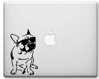 French bulldog face w/ Glasses decal -Cool Frenchie macbook pro or car window- Frenchie Decal - Laptop Decal -Frenchie Vinyl -Yeti Cup Decal