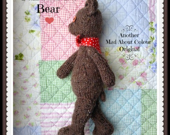 Knit Teddy Bear Toy NeWBoRN BaBY PHoTO PRoP Heirloom Bear Soft Toy SHaBBY CHiC Kids STuFFeD ANiMaL Toddler Old Fashioned Knitted BRoWN BeAR