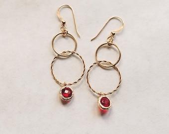 Red Crystal and Gold 2 Hoop  Earrings