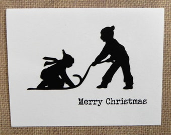 Children Sledding Christmas Card, Christmas Card set, Holiday Card set, Handmade Christmas Card