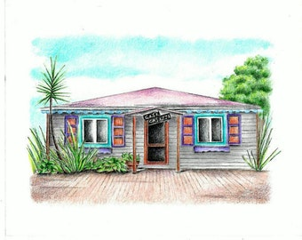 House Drawing / House portrait / House Sketch / island house portrait / tropical house drawing / beach bungalow drawing