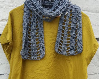 Bullfinch Scarf - Pure Cotton Crochet Scarf - Ready to Ship