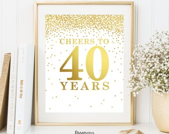Cheers to 40 years, Printable 40th birthday decor, Cheers to 40 years birthday sign, Birthday party decorations, Birthday Printable Banner