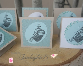 Sloth Cards, Small Cards with Sloths, Sloth Card Set