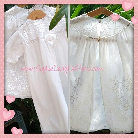 Antique White French Baby Tulle Christening Gown and Cape Set  #sophieladydeparis