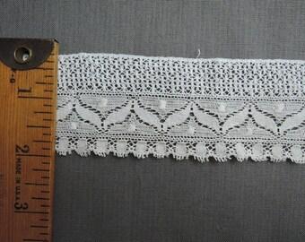 Vintage White Cotton Lace 1900s Antique Edwardian Lace 2 yards pieces