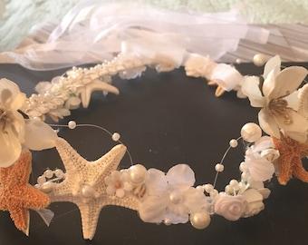 Xo bouquet hair band seashell beach wedding
