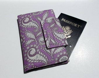 Passport Wallet with Travel Smart Phone Wallet in phone Wallet Radiant Orchid Purple and Grey Paisley , Ready to Ship