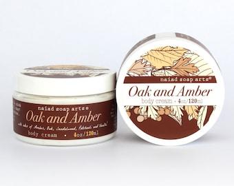 Bois de chêne et d'ambre du beurre de karité corps crème - pot 4 oz Vegan - riche en anti-oxydant-