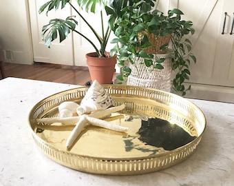 Vintage Round Brass Tray  • shiny brass Serving Tray • Regency Bohemian Decor