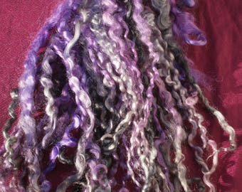 Wensleydale shearling extra long dyed locks - curls - doll hair - felt - tailspinning