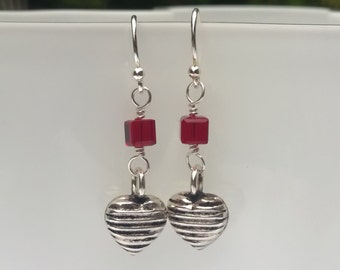 Wire Wrapped Red Crystal and Sterling Silver Heart Earrings, Dangle