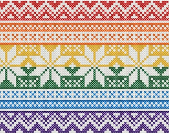 Holiday Pride Flag Cross Stitch Pattern