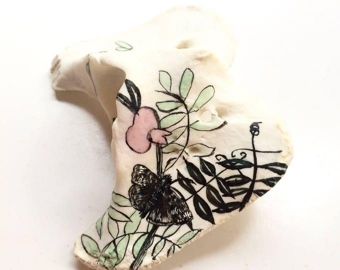 duel / tiny original painting on bone / moth + wildflower art / bone art