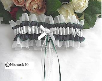 WEDDING GARTER, IVORY, blackwatch  tartan, bow, pearls, ribbons