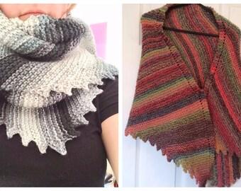 Stormy Day's Shawl Scarf Knitting Pattern PDF only