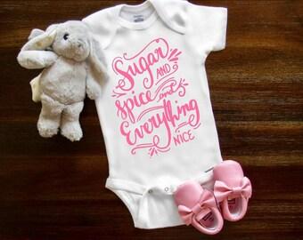 Baby Onesie® Sugar and Spice onesie® boho onesie® Baby Girl Newborn onesie ® Sweet girl baby shower gift birthday party Toddler Shirt
