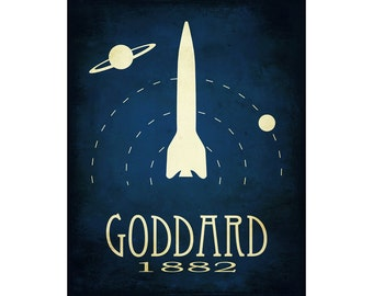 Space Art Print Featuring Rocket and Planets, 11x14 Artwork Dedicated to Rock Star Scientist Robert H Goddard with Steampunk Illustration