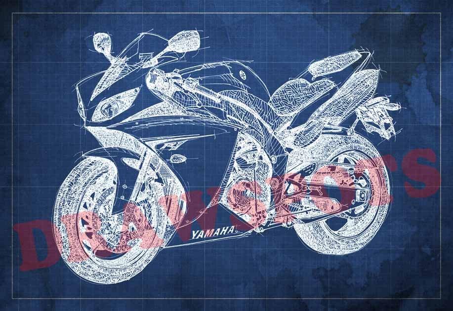 Yamaha r1 blueprint original art print 8x12 in to 60x41 in zoom malvernweather Images