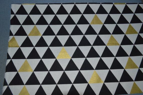 Black White Gold Triangle Fabric, Metallic Gold Fabric, Fabric by ...