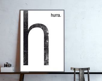 Type poster, monogram, H Hurray