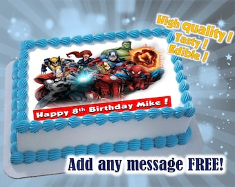 Super Heroes cake toppers, edible print. Sugar sheet decoration party supplies.