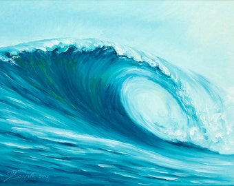 """GICLEE reproduction on 8 1/2 x 11"""" fine art PAPER - Curling Wave series 6 (wave, barrel, tube)"""