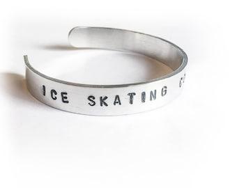 ICE SKATING COACH Figure Skating Charm Bracelet Custom Stamped Skate Charm Bracelet