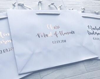 BRIDESMAID GIFT BAG box rose gold  bride groom groomsmen bridesmaid flower girl or maid of honor personalised wedding favour