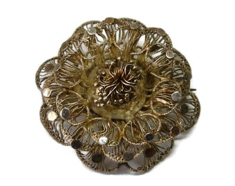 Lace Filigree Edwardian Brooch, Dainty Gold Antique Flower Jewelry, Intricate Open Work