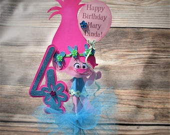 Troll Centerpiece Topper or Cake Topper With Age number and Happy Birthday Balloon