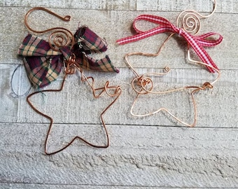 Primitive Folk Art Country Christmas Decorations Handmade Copper Star Christmas Ornaments - OOAK