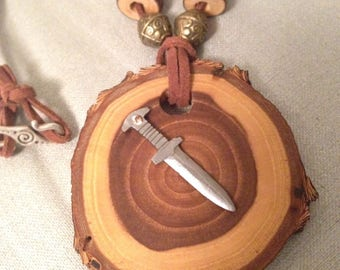 Elm Wood Medallion Necklace with Miniature Sword
