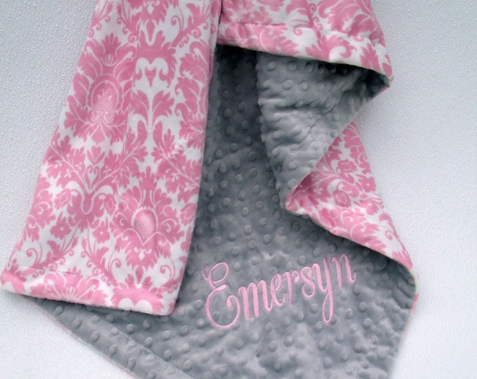 Pink Damask and Silver Gray Minky Baby Blanket, also available in teen or atdult sizes