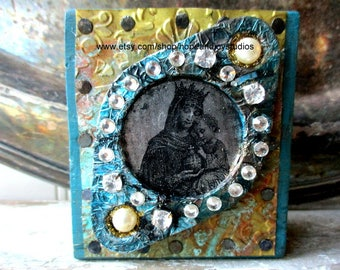 Madonna and Child Art block Assemblage Mixed media collage icon shrine altered art folk art upcycled vintage elements sit or hang