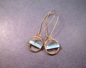 Circle Drop Earrings, Blue Opal and Gold, Long Dangle Earrings, FREE Shipping U.S.