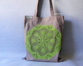 Brown tote bag with green crochet doily, natural linen shopping bag, eco bag, grocery bag, summer canvas bag, market bag, beach bag