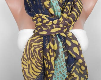Mothers Day Gift For Her Leopard Scarf Animal Print Scarf Zebra Scarf Brown Yellow Scarf Shawl  Winter Scarf Fashion Accessories Holiday