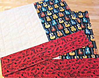 Set of 2 Placemats, Quilted Placemats, Guitar Placemats, Music Decor, Guitars, Reversible Placemats, Rock Music Decor, Guitar Player Gift