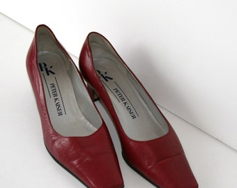 Red Leather Pumps Vintage Burgundy Red Leather Woman Shoes 80s 90s Size 7.5 US / Size 38 (EU) / UK 5,5