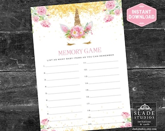 Memory baby shower game. Pink vintage rose and gold Unicorn face printable party game. Download Today