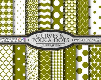 Olive Green Polka Dot Digital Paper - Drab Printable Olive Geometric Patterns with Olive Polka Dot Scrapbook Designs