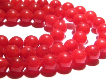 20 beads natural 8 mm - red jade Burgundy translucent - gem stone - PG110