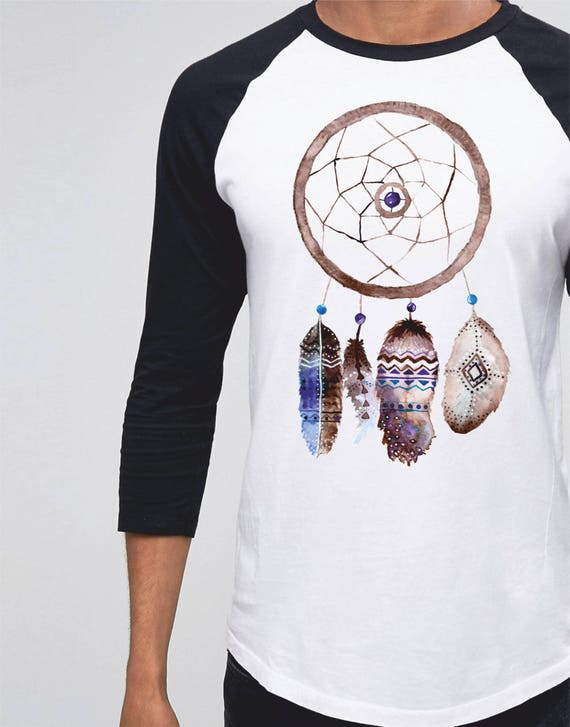 Dreamcatcher | Unisex Raglan Shirt | 3/4 sleeves | Basketball shirt | Sacred feathers Tee |Shirt for her / him | Native Apparel | Watercolor