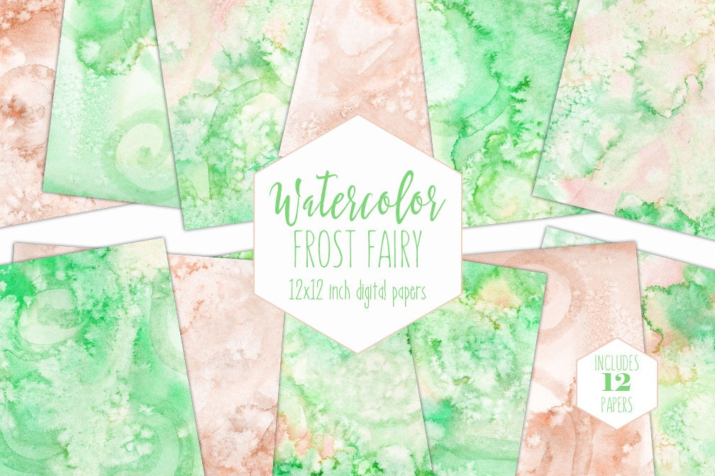 Lime Peach Watercolor Digital Paper Pack Commercial Use