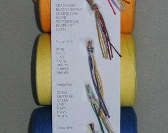 8/4 cotton Rug Yarn/ carpet warp sample card
